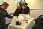 Making liquid nitrogen ice cream at undergraduate open house