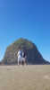 UB civil engineering students Michael Murphy (left) and Damian Andreani (right) at the Haystack in Cannon Beach, Oregon
