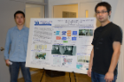 "Si Chen (PhD '16) and Muyuan Li (MS '16) present ""The Power of IndoorCrowd: Crowdsourcing Building Interior View and Skeleton Reconstruction"" at CSE Student Poster Competition '14, March 26, 2014. Si and Muyuan's PhD advisor is Kui Ren. Photo credit: Ken Smith"