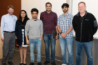 Alan Hunt, Demo Day host and CSE 611 instructor; Demo Day 2019 first place winners Pranjal Jain, Saurab Chauhan, Pranav Vij, and Nikhil Lala; and Sonny Sonnenstein, Demo Day sponsor and M&T Bank SVP & CIO, Consumer, Business, and Digital Banking
