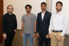Oliver Kennedy, Database Bake-Off host and CSE 562 instructor; Database Bake-Off 2019 winners, the slow mo guys: Mohammad Umair, Hariprasath Parthasarathy, and Syed Aqhib Ahmed