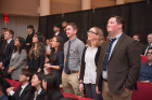 Connor Mulqueen, Liesel Vaidya, Aishani Bhalla, Wendy Shi, Greg Bunyea, Emily Walker, and Patrick Jones recite the Pledge of the Computing Professional oath, February 20, 2018. Photo credit: Onion Studio