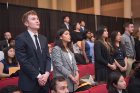 Connor Mulqueen, Liesel Vaidya, and Aishani Bhalla recite the Pledge of the Computing Professional oath, February 20, 2018. Photo credit: Onion Studio