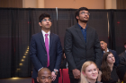 Students recite the Pledge of the Computing Professional oath, February 20, 2018. Photo credit: Onion Studio