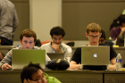 Students working at UB Hacking '14, November 7, 2014. Photo credit: Ken Smith