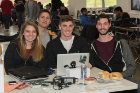 Meg Arnold (CS BS/MTH BS '17), Josh Bueno (CS BS '16), Alex Rookey (CS BS '16), and AJ Stohr (CS BS '16) at UB Hacking '15, November 14, 2015. Photo credit: Ken Smith