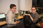 Angus Lam (CS BS and Linguistics BA candidate) and Brett Kolodny (CS BA candidate) develop Plantr, an automated hydroponics system with a self-regulating environment, at UB Hacking '15, November 14, 2015. Plantr runs on Arduino and Python. Photo credit: Ken Smith