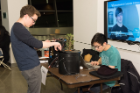 Brett Kolodny (CS BA candidate) and Angus Lam (CS BS and Linguistics BA candidate) demo Plantr, an automated hydroponics system with a self-regulating environment, at CSEdWeek '15, December 7, 2015. Plantr runs on Arduino and Python. Photo credit: Ken Smith