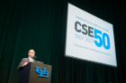 UB President and Computer Science Professor Satish Tripathi welcomes attendees to the CSE 50th Anniversary Graduate Research Conference in the CFA, September 29, 2017. Photo credit: Angela Doll Photography