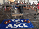 """If you watch the students in action, you see their ability or their intensity or commitment, and that's better than an interview,"" said Larry Mathews, '69 graduate of SEAS. Mathews (left) and John Gast traveled with the team to the 2015 National Student Steel Bridge Competition in Kansas City, Mo."