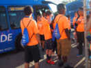 Students boarding the UB Stampede buses outside Greiner Hall.