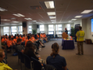 Representatives from National Grid speaking to students.