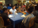 Liesl Folks, dean of the School of Engineering and Applied Sciences, gives students some tips at the etiquette lunch.