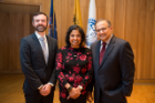 2017 Engineer of the Year Ashish Shah with his wife Dr. Usha Yalamanchili and Jordan Walbesser, Board member of the UB Engineering and Applied Sciences Alumni Board.