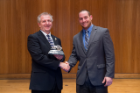 Engineer of the Year James van Oss (left) with Francis Mahaney, treasurer of the UB Engineering Alumni Association.