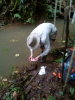 Gavin Amos collects water samples from the source.