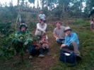 Scott Scheers, Aaron Chaney, Evan Supple and Gavin Amos take a break from surveying to talk to children from La Laguna.