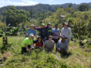 The UB EWB team poses with La Laguna community members. Back Row: Gavin Amos, Nelson Picado, Scott Scheers, community member Jose Maria, Aaron Chaney. Front Row: Rosaleen Nogle, Carlos Abreu, Evan Supple, and another community member.