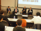 "Panel Discussion on ""Corporate Leaders and Entrepreneurs."" From Left: Russell Agrusa, Stephen Still, Thomas Lynch and Timothy Grady"