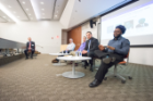Kurt Bessel, Kevin Kerl, Eric Cichowski, Barnard Onyenucheya and Jahmil Campbell at the Young Alumni panel discussion in 101 Davis Hall.