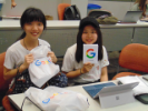 Students got the chance to pick up some Google swag such as socks, sun glasses, and much more.