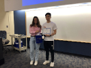 Zhi Wen Huang, finalist of the UB Reinforcement Learning Challenge, with Alina Vereshchaka (organizer).