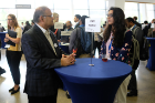 Ashish Shah, vice president of research, development and engineering at Viant and UB electrical engineering alumnus, talks to students during the Career Preparation Reception. Shah serves on the SEAS Deans Advisory Council and the BME Department Advisory Board.