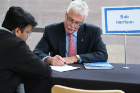 Bob Harrison, vice president of engineering and construction at Transmission Developers, Inc. (a Blackstone Portfolio Company) and UB mechanical engineering alumnus, met with students individually to provide advice on improving their resumes. Harrison is a member of the SEAS Dean's Advisory Council and MAE Department Advisory Board.