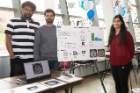 Adityan Harikrishnan, Akshay Verma and Roshni Murali display their computer vision project to extract data from tire images.
