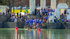 Supporters gathered at Baird Point wearing UB Blue to cheer on the paddlers.