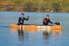 "Roger Laistner (left) and Andrew Wishman paddle ""Bulldozer"" in the second race."