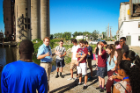 Students received a tour of Silo City in downtown Buffalo. Here Brad Hahn, executive director of Explore Buffalo and a UB alumnus, discusses the important role the elevators played on Buffalo's waterfront.