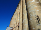 An exterior shot of one of the grain elevators.