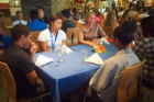 The camp included a business etiquette lunch. Here Liesl Folks, dean of the School of Engineering and Applied Sciences, gives students some tips.