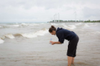 Sassoubre joined UB after receiving her doctorate from Stanford University in 2014. Here she is last month at Woodlawn Beach, just south of the wind turbines in the Town of Hamburg.
