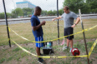 Also participating in the research are, from left to right, Chimere Alozie, a civil engineering major and Thomas Glose, a PhD student in Lowry's lab. Here, they use a pump to collect groundwater.