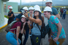 Students take time for a selfie at the Celsia wind farm in Guanacaste.