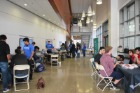 Students in action during the 2019 Blockchain Buildathon.