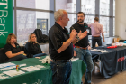 An M&T Bank representative speaks at the 2019 Blockchain Buildathon.