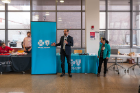 A BlueCross BlueShield of WNY representative speaks at the 2019 Blockchain Buildathon.