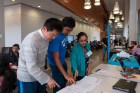 Bina Ramamurthy talks to students at the 2019 Blockchain Buildathon.