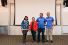 Student award winners pose with Bina Ramamurthy at the 2019 Blockchain Buildathon.