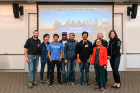 The recipients of the Blockchain Buildathon Grand 1st Prize pose with representatives from M&T Bank and faculty member Bina Ramamurthy.