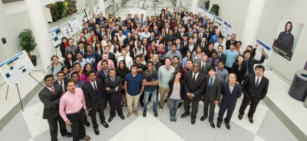 Over 70 students posed for a photo after presenting their research posters at the UB CBE annual graduate research symposium