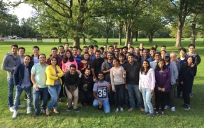 chemical engineering students in the park at the annual welcome back picnic.