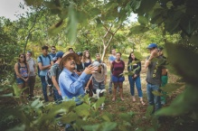 Students tour Costa Rican forest with a guide.