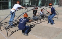 ASCE Steel Bridge team practing.
