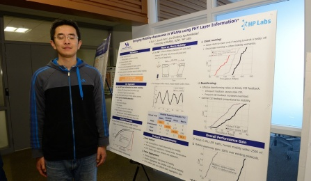 "Li Sun presents ""Bringing Mobility-Awareness in WLANs using PHY Layer Information"", at the CSE Grad Student Poster Session. Li's PhD advisor is Dimitrios Koutsonikolas. Photo credit: Ken Smith."