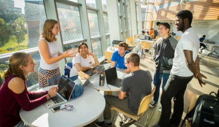 CSE students collaborate in Davis Hall.