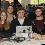 UB Hacking '15, November 14, 2015. Meg Arnold (CS BS/MTH BS '17), Josh Bueno (CS BS '16), Alex Rookey (CS BS '16), and AJ Stohr (CS BS '16). Photo credit: Ken Smith.